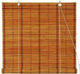 Oriental Furniture Burnt Bamboo Roll Up Window Blinds, Two Tone Honey, 72-Inch Wide