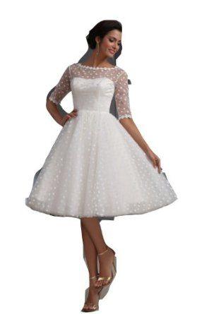 Winey Bridal Short Sexy See-through Bateau Long Sleeves Beach White Wedding Dresses  Winey Bridal