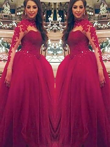 Ball Gown Long Sleeves Burgundy Applique PromDress