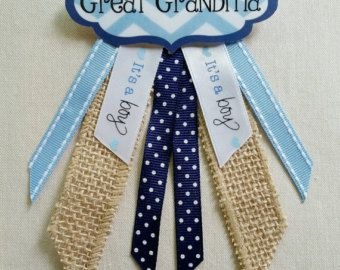 Available in your choice of colors, this baby shower name tag pin is the perfect way to make close relatives feel honored at your baby shower. Its a beautiful alternative to a corsage, as well! ♡ The price listed is for 5 pins. See my other listings for discounts on sets of pins! ♡ Please indicate your color choices and name preferences, (i.e. Grandma, Great Grandma, Nana, Aunt, Big Sister, etc.) in a message to the seller. I make the name tags, myself, so I can include any wording you…