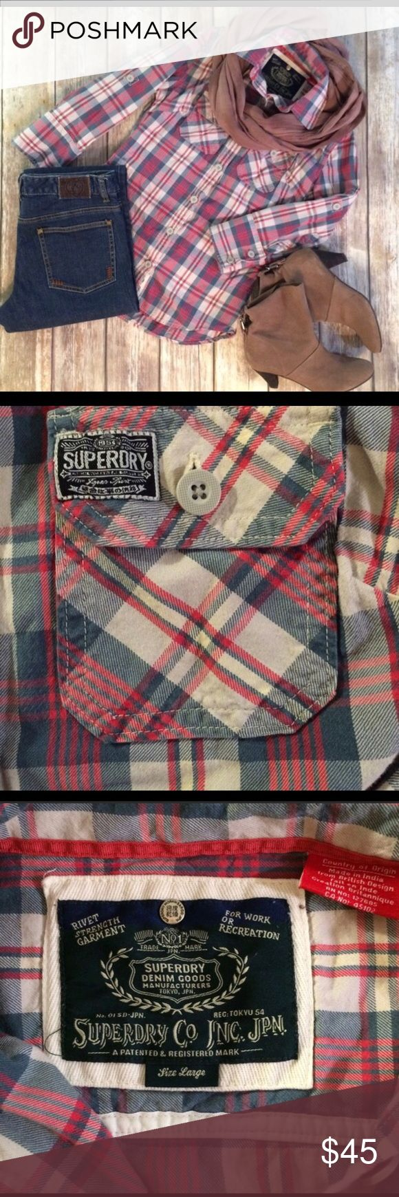 Superdry Plaid Shirt This shirt is in great condition. It is super cute! I bought it and was super excited to wear it, but it is too small for me. It says large on the tag, but it fits more like a small/medium. Superdry Tops Button Down Shirts