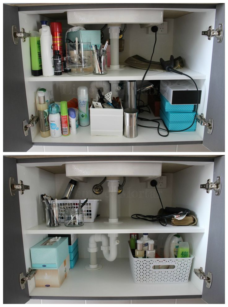 Organise your bathroom cupboards. Declutter products and use baskets for easy access