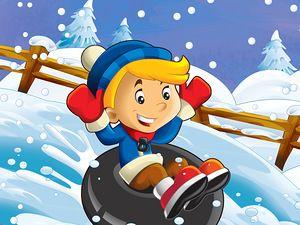 The winter fun kids - illustration for the children