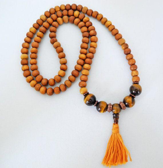 Calming, beautiful, sandalwood.   108 Stone Sandalwood and Tiger Eye Mala by beadonawiredotca, $50.00