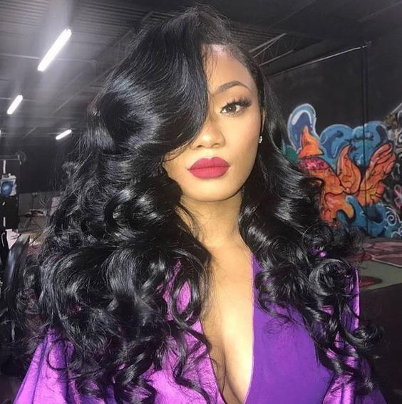 Human Hair Bundles Lace Closure Non Remy Hair Weft Brazilian Straight Hair Weave 3 Bundles With Closure.  Are you looking for long black straight hairstyles? See our collection full of long black straight hairstyles and get inspired! #blackhairstyleswithweave