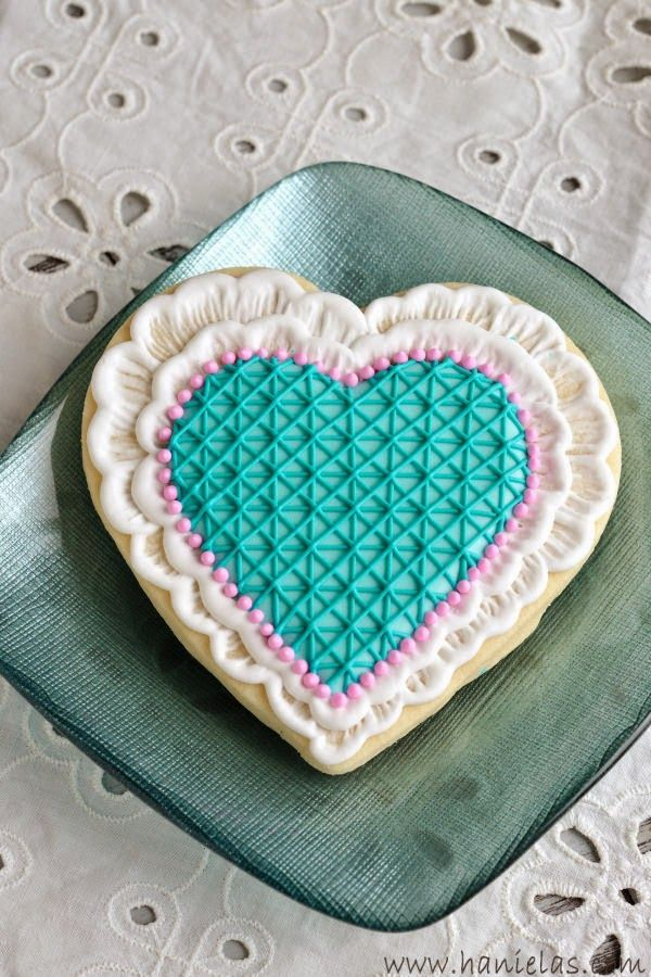 Haniela's: Brushed Embroidery Lace Heart Cookies