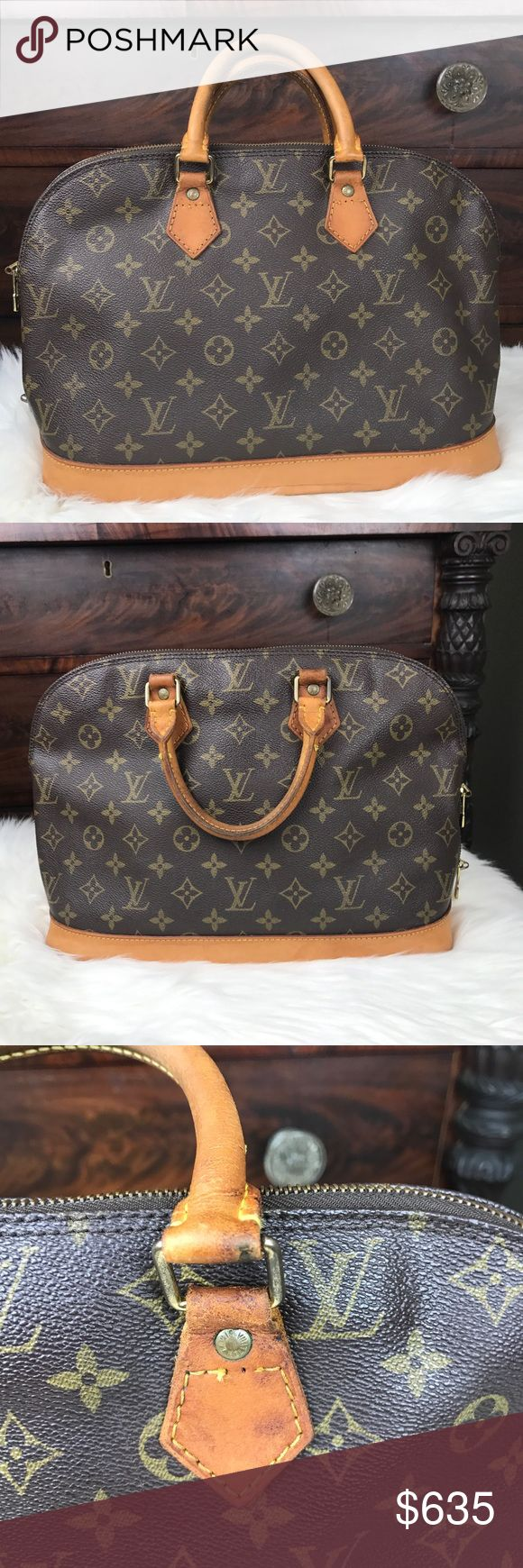 """Authentic Louis Vuitton Alma Date Code VI 1922 Size (Inch)W 12.6 × H 9.3 × D 6.3 """"  Handle 3.5"""" There are signs of wear as this is a vintage bag. It is very clean inside and out. No tears, rips, smells, or other damage. The leather has warms nicely. The handles are darkened. As you can see in the third pic, there is a stitch missing. It doesn't impact functionality. Louis Vuitton Bags Satchels"""