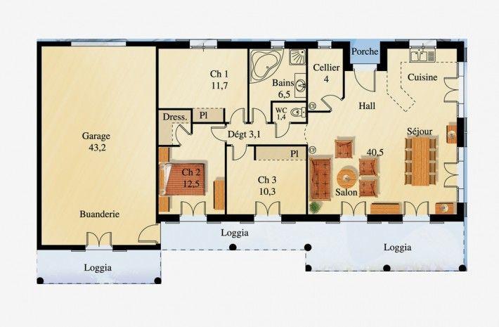 Cool plan du modle mc maison de plain pied la maison des - Plan maison plain pied 70m2 ...
