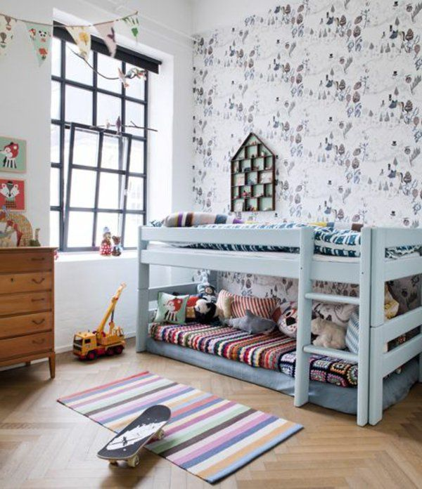 ideen deko tapeten kinderzimmer gestalten bett treppe