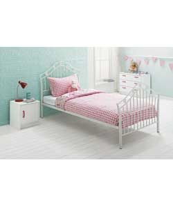White Hearts Single Metal Bed Frame £85.99