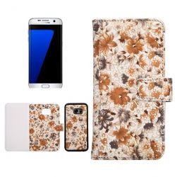 Cover Samsung Galaxy S7, Galaxy S7 Edge Retro Autumn Flower Pattern Combo Card Slot Wallte Diary - for girls -