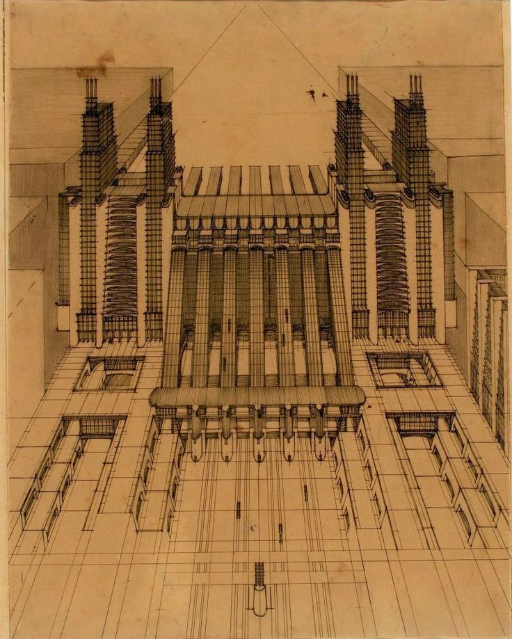 1914 ANTONIO SANT'ELIA Stazione d'aeroplani e treni ferroviari con funicolari e…