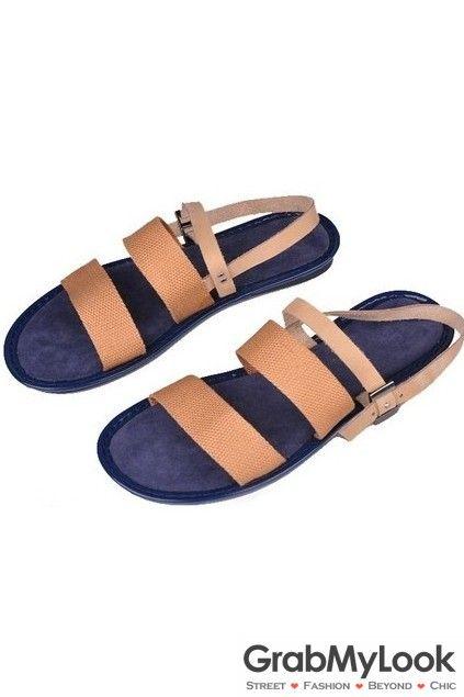 GrabMyLook Sling Back Thin Leather Straps Gladiator Roman Men Sandals Flip Flops Flats
