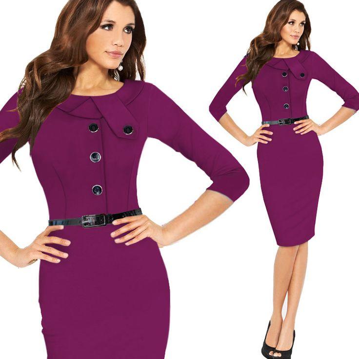 Ж. л. я новый Half рукав подпоясанный кнопка черная Осень сексуальные элегантные миди платья офисные женские платье-футляр платье плюс Размер vestidos