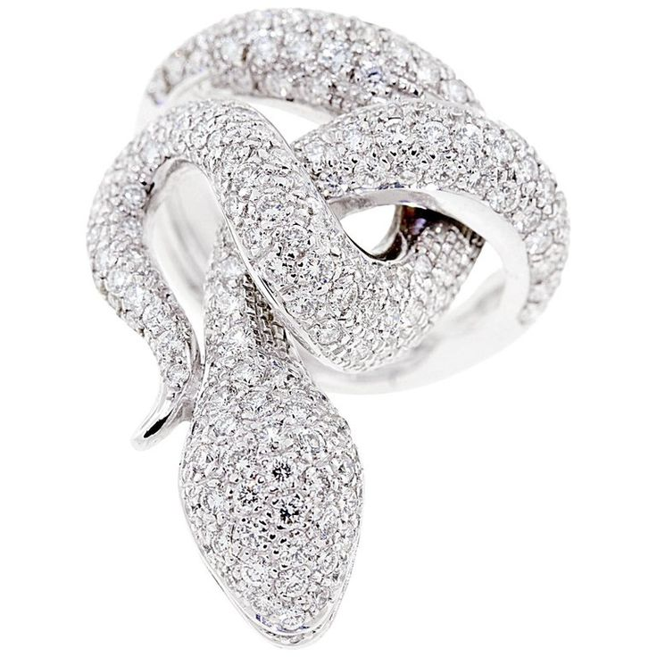 Ella Gafter Diamond White Gold Snake Cocktail Ring | From a unique collection of vintage cocktail rings at https://www.1stdibs.com/jewelry/rings/cocktail-rings/