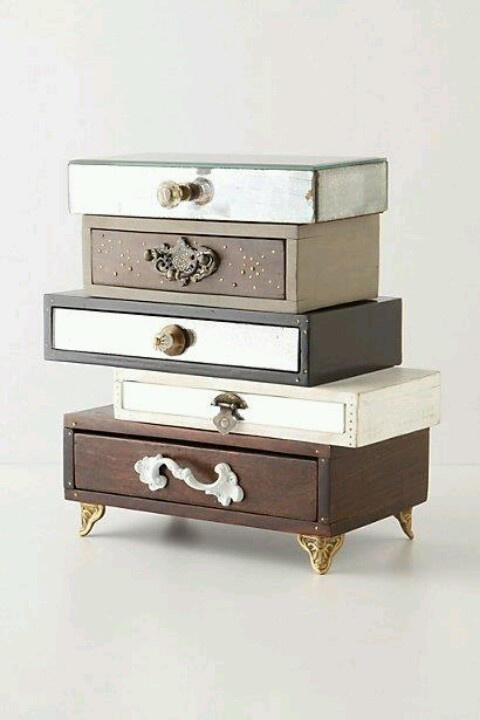 cigar boxes joined to make small bedside table