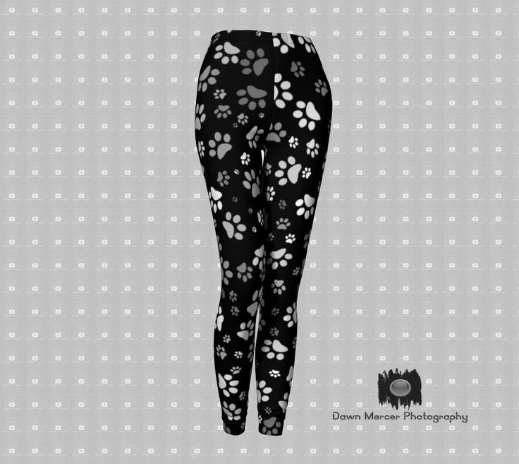 Paw Print Leggings Printed, Women's Black Leggings White Paw Prints, Yoga Pants, Tights, Premium Designer Leggings with High Waist by DawnMercerPhoto on Etsy