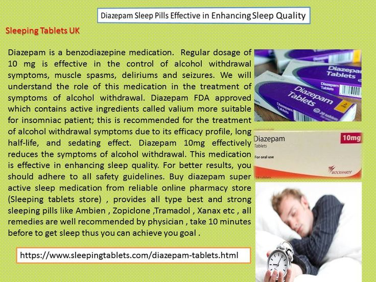 Diazepam is a benzodiazepine medication.  Regular dosage of 10 mg is effective in the control of alcohol withdrawal symptoms, muscle spasms, deliriums and seizures. We will understand the role of this medication in the treatment of symptoms of alcohol withdrawal. Diazepam FDA approved which contains active ingredients called valium more suitable for insomniac patient; this is recommended for the treatment of alcohol withdrawal symptoms due to its efficacy profile, long half-life