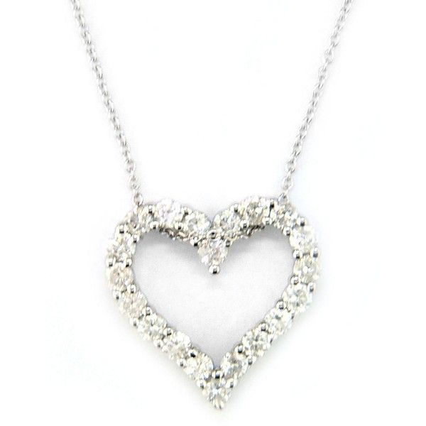 Effy Classique 14 Kt White Gold Diamond Heart Pendant Necklace ($1,560) ❤ liked on Polyvore