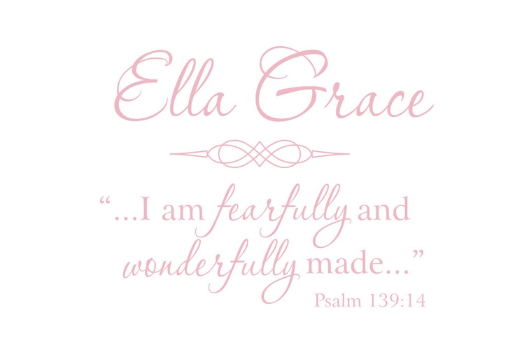 """I am Fearfully and Wonderfully Made  - Vinyl Wall Decal Scripture Quote for Baby Nursery Boy or Girl Room 22""""H x 36""""W Wall Art FS148. $45.00, via Etsy."""