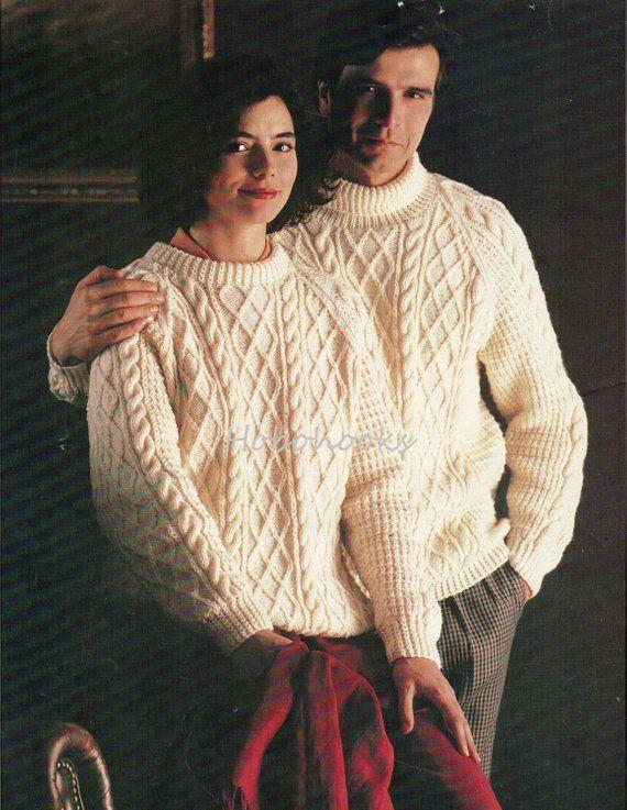 ed6c693c2e5c Ladies mens aran sweater knitting pattern womens cable jumper crew neck  polo neck 32-44