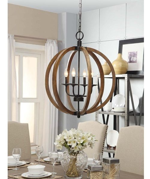 Wine Cellar Light Fixtures: Light Fixture For Dining Room Distressed Rustic Wood Orb