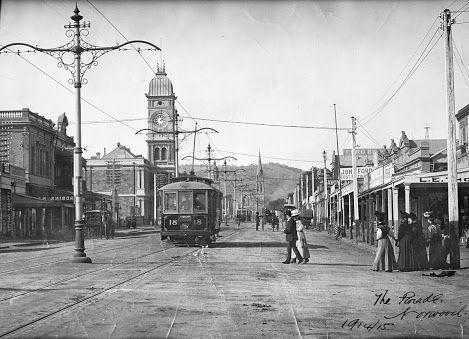 The Parade, Norwood, 1914 #adelaide   #history   An electric tram and shoppers on The Parade at Norwood.