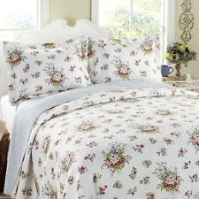 laura ashley roseland white floral cotton reversible quilt set by laurau2026