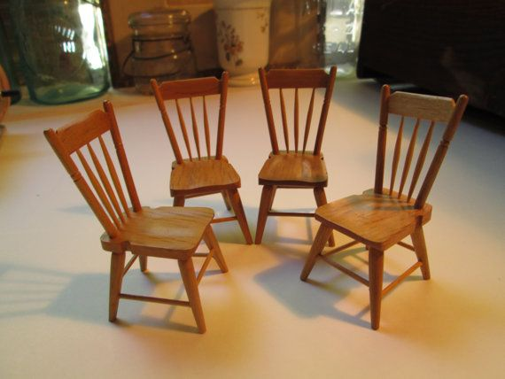 Four Vintage Dollhouse Wooden Kitchen Chairs Spindle Back