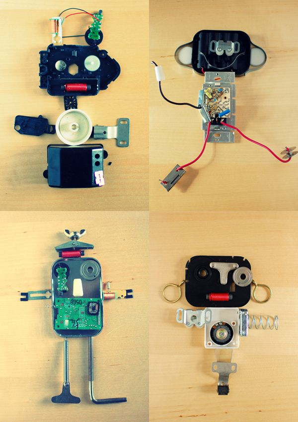 Quite the quad of found object robots.  http://blog.giddygiddy.com
