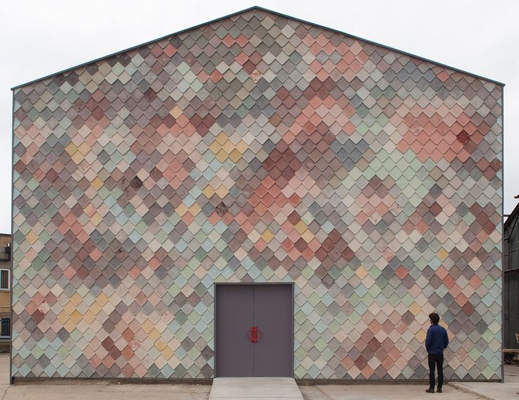 Yardhouse / Assemble. Subtly varied hand made concrete tiles fabricated on site.