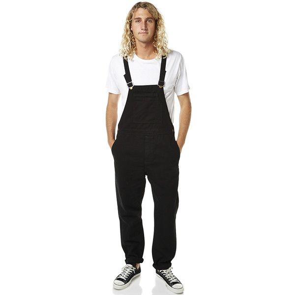Rollas Trade Overalls Black (€98) ❤ liked on Polyvore featuring men's fashion, men's clothing, black, jeans, men, men's apparel, mens bib overalls, mens clothing and organic cotton men's clothing