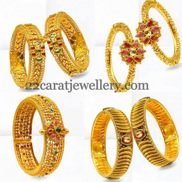 Jewellery Designs: Antique Gold Bangles by Prince Jewelry