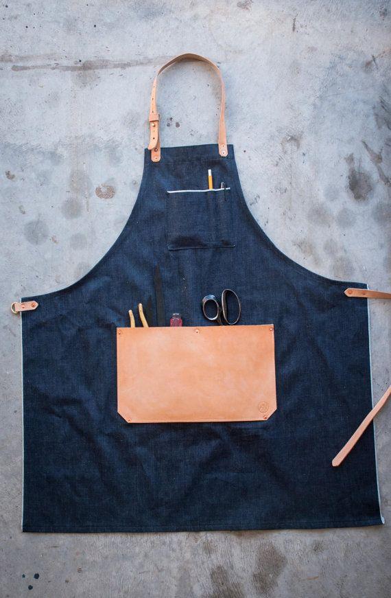 Selvedge Denim & Leather Apron // Made in USA // AmericanNative, $85.00