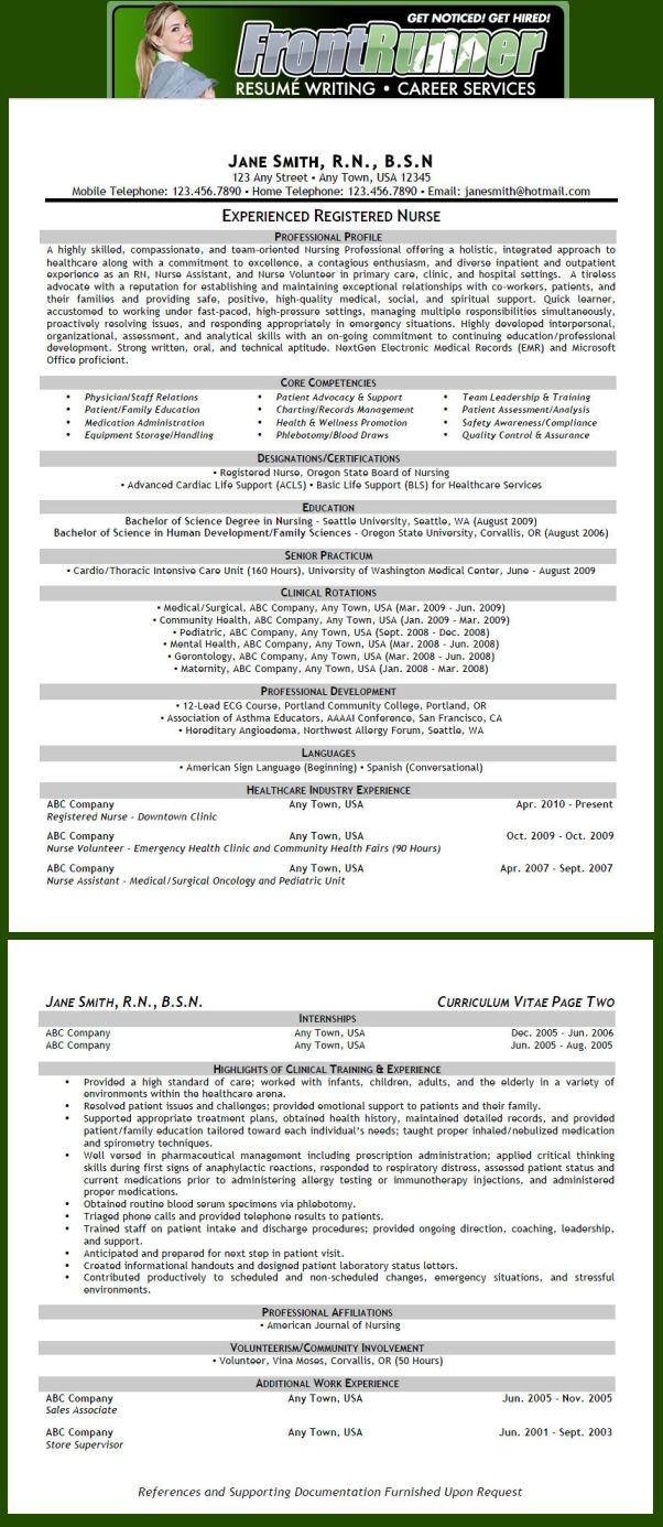 Resumé Sample (Nursing - RN)