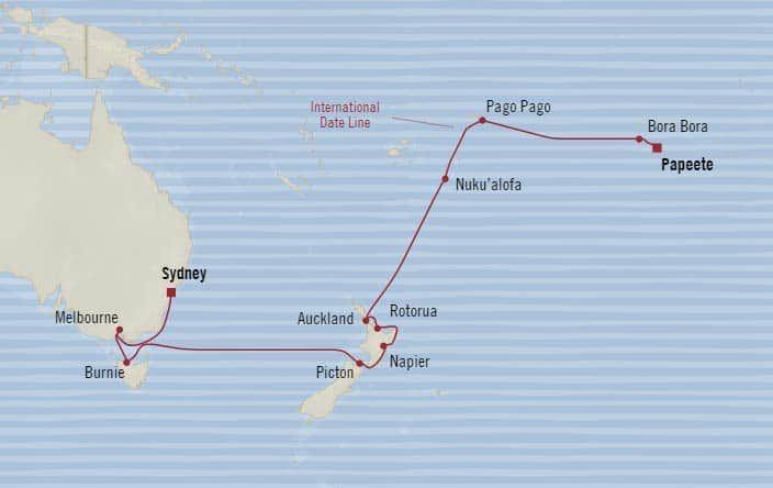 Oceania Cruises 20-days from Sydney, Australia to Papeete (Tahiti), French Polynesia