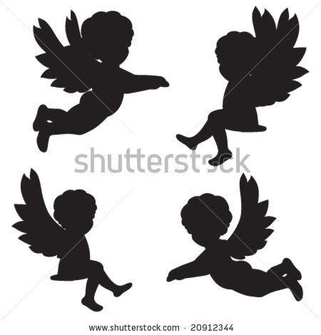 set of vector silhouettes of angels 20912344. Black Bedroom Furniture Sets. Home Design Ideas