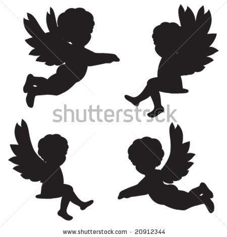 set of vector silhouettes of angels 20912344. Black Bedroom Furniture Sets. Home Design Ideas