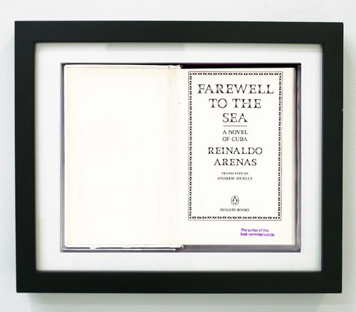 """Field Projects: Flat File - Artist:  AARON KRACH $100.00 Title: """"Farewell to The Sea by Reinaldo Arenas  (from The Author of This Book Committed Suicide, NYPL 2012)""""    Xerox on Brite White 80lb  Cardstock with Hand-stamp 7 x 8.75 inches Edition of 100 + 5 AP (unframed)"""
