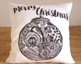 Christmas Pillow - Christmas Decor Pillow - Merry Christmas Floral Ornament Pillow - Decorative Pillow Cover - Flowers