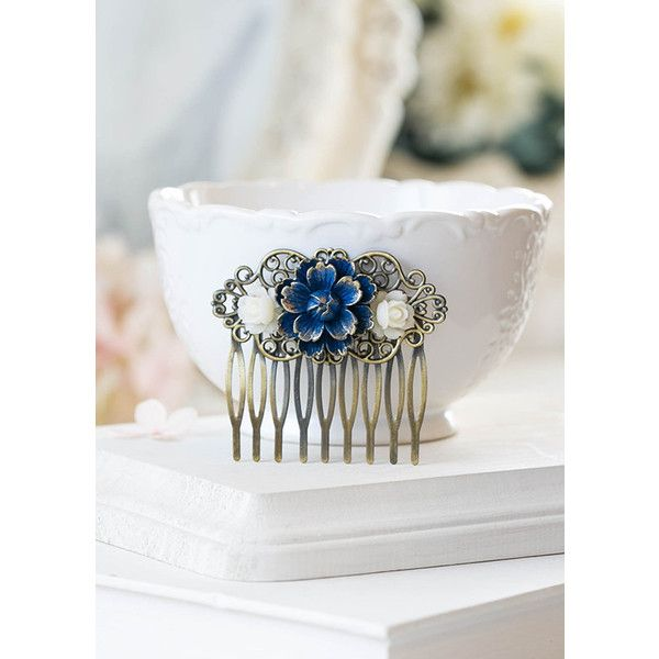 Gold Tipped Navy Blue Dark Blue Vintage Style Hair Comb Cherry... ($20) ❤ liked on Polyvore featuring accessories, hair accessories, black, decorative combs, rose gold hair accessories, gold flower hair accessories, hair comb, navy blue hair accessories and floral hair accessories