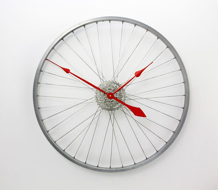 Large Wall Clock, Bicycle Wheel Clock, bike wheel clock Bicycle Clock, Bike Wall Clock, Unique wall clocks, cycling gift by treadandpedals on Etsy https://www.etsy.com/listing/125662141/large-wall-clock-bicycle-wheel-clock
