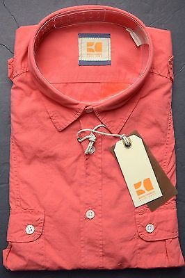 NWT HUGO BOSS ORANGE MEN'S LONG ROLL-UP SLEEVE WASHED RED COTTON CASUAL SHIRT S
