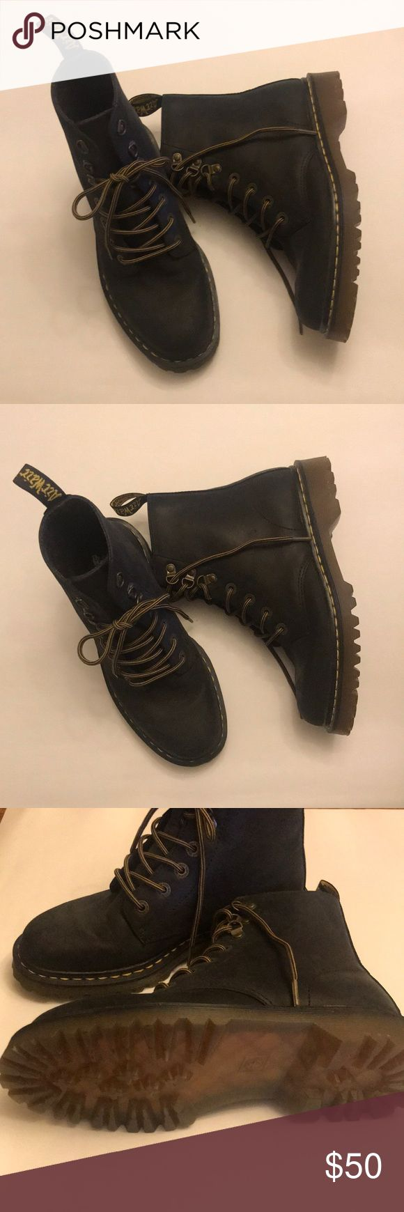 Dr Martens Luana Black Combat Boot, Size 9 Women's size 9. Never worn, no original box. Leather upper in a casual lace-up ankle boot style with a round toe. Full-lace-up front with metal eyelets and D-rings. Pull loop at collar for easy on and off. Leather and textile lining with a cushioning insole. 6 inch shaft height, 11 Dr. Martens Shoes Combat & Moto Boots