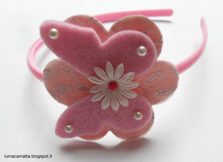 Cerchietti per capelli: farfalla e mezze perle