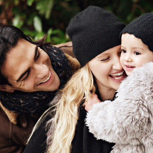 Happy family. Falcao, his wife and daughter.