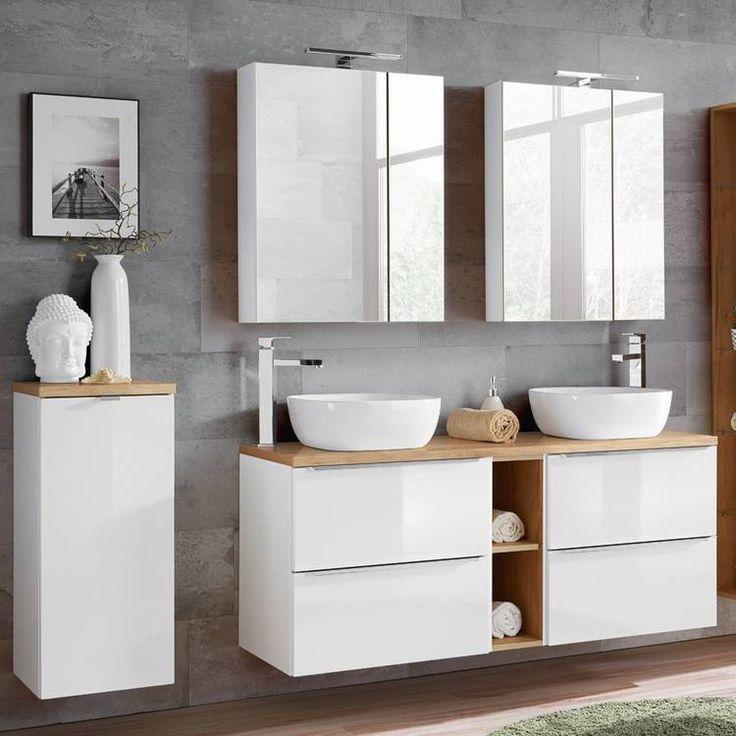 Badezimmer Serie Toskana 56 In Weiss Hochglanz Jetzt Selbst Zusammenstellen Waschtisch Holzplatte Badezimmer Unterschrank Badmobel Weiss
