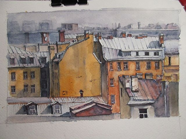 #saintpetersburg #roofs #urbanart #санктпетербург #крыши #город #watercolor #акварель