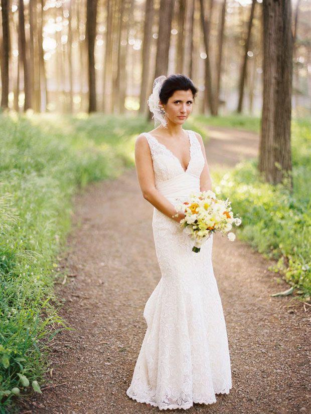 Cool Simple Sleeveless Deep V neck back Mermaid Embroidered Wedding Dress
