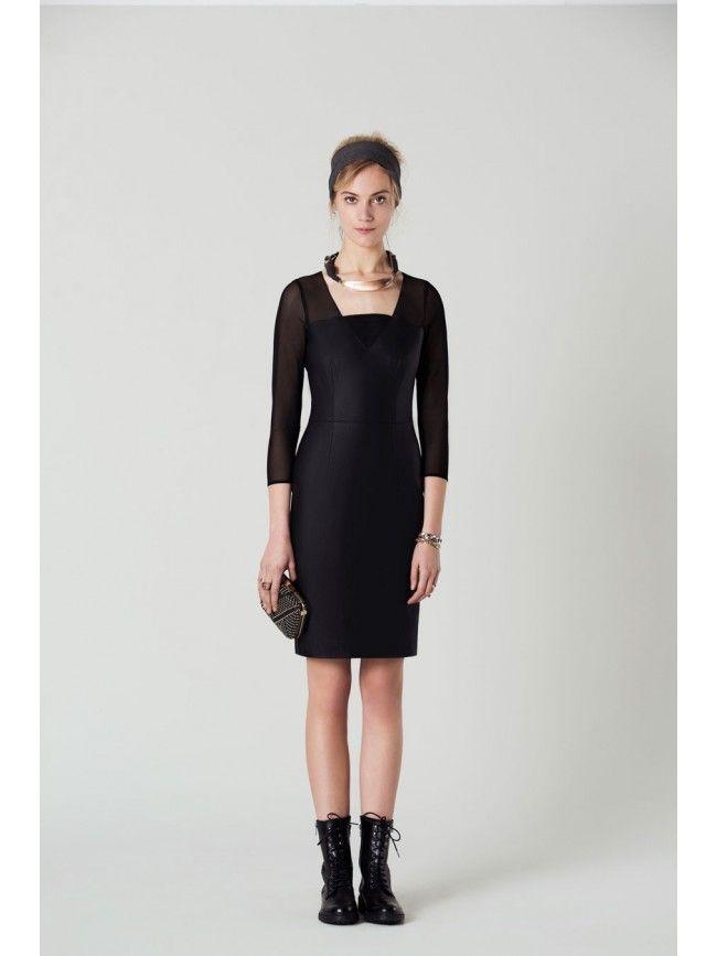 #Vestido de cuero en negro o marino con mangas de tul #OkyCoky #Vestidos #Dress #Moda #Trend #Fiesta
